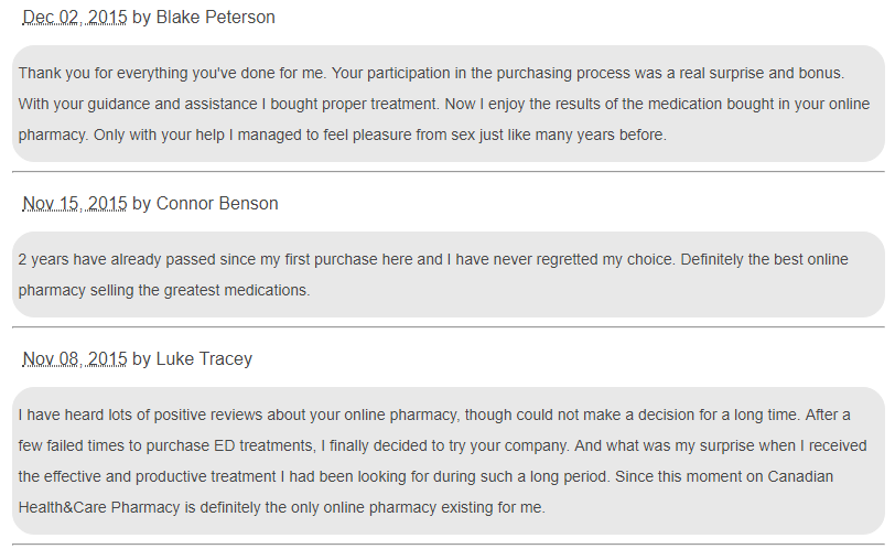Canadian Health and Care Mall Client Testimonials