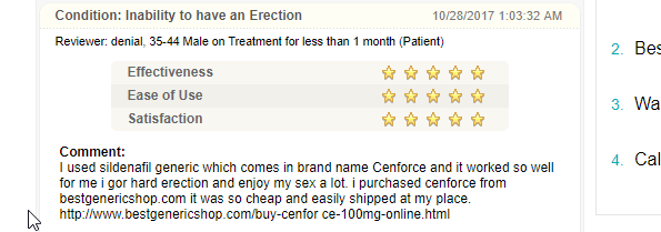 Review for Cenforce (A form of brand Viagra)