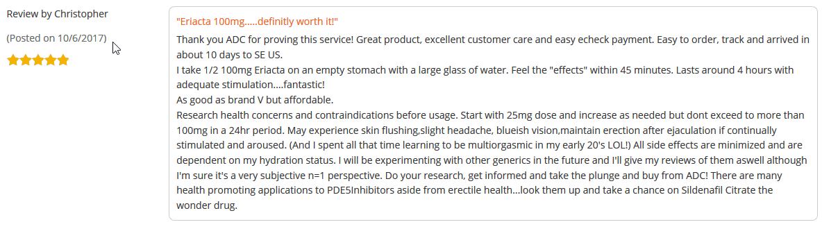 Another of Eriacta 100 reviews, from Christopher, rated the product 5 out of 5 stars