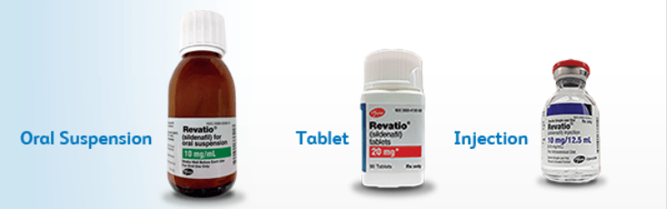 Brand-name Revatio comes in oral suspension, tablet, and injection forms