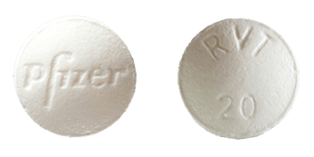 A Revatio tablet is marked with the name of its manufacturer, Pfizer, as well as the number 20 for a 20 mg dose of sildenafil
